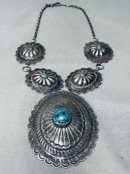 Huge Hand Tooled Vintage Navajo Turquoise Sterling Silver Concho Necklace