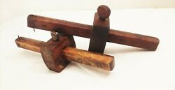 Vtg Antique Wood Brass Mortise Layout Marking Scribe Measuring Woodworking Tool