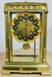 Rare Antique French 8 Day Ornate Bronze Gong Striking 4 Glass Mantle Clock