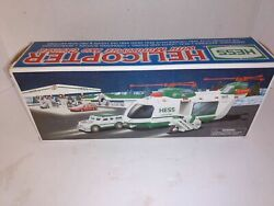 2001 Hess Toy Truck Helicopter With Motorcycle And Cruiser W/ Box