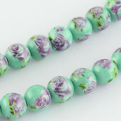 10 Porcelain Flower Beads 10mm Green Floral Ceramic Jewelry Making Findings