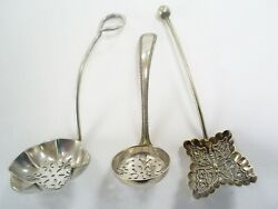 3 Various Antique/vintage Silver Plate Sugar Sifter Spoons/butterfly Shape Etc