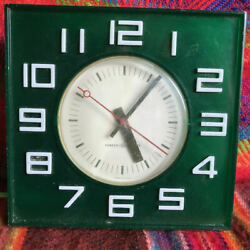 Vintage General Electric Square Plastic Wall Clock, Transparent Green, 1950s.
