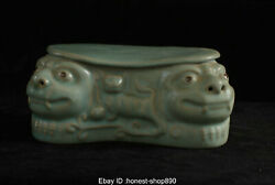 Old Chinese Antique Ru Kiln Porcelain Dynasty Lion Head Pillow Statue