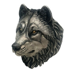 Original Design S925 Sterling Silver 24k Gold Wolf Head Wolf King Men's Ring New
