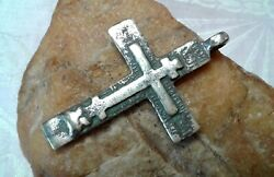 Antique C.18th Century Large Silver Old Believers Orthodox Cross The Keeper