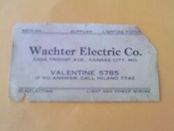 Rare 1930s Postcard Size Business Card Troost Wachter Electrical Kansas City Mo