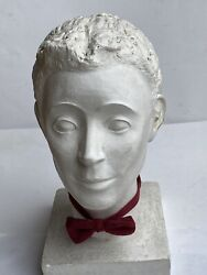 """Vtg Plaster Bust With Facial Details 14""""tall Signed Sculpted Victorian 14""""x11"""""""