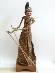 Antique Early 20c. Wayang Golek Puppet With Stand