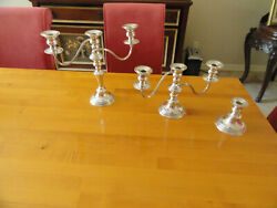 3 Candlesticks W 2 Branched Candelabra Inserts And 7 Wax Catchers Made England A/e
