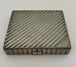 Large Antique 1930and039s Art Deco Solid Sterling Silver Mirror Makeup Compact 175g