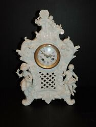 Lovely Antique Wallendorf Hard White Porcelain Figural Clock 13 1/2 Tall