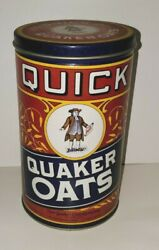 Retro Quick Quaker Oats Oatmeal Empty Tin Can 1990 Limited Edition Canister