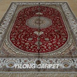 Yilong 6'x9' Handknotted Silk Rug Oriental Kid Friendly Classic Red Carpet 1214