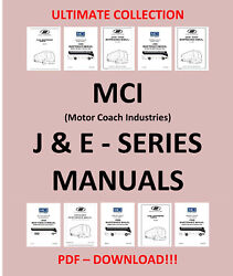 Mci Bus J And E - Series Maintenance Owners Manual Parts List - Only Pdf Download