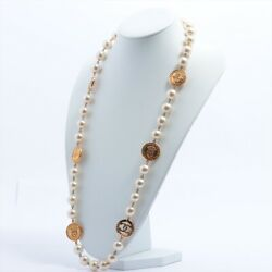 Coco Mark Necklace Faux Pearl Gold
