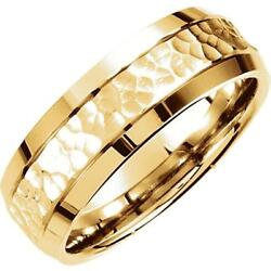 14 Yellow Gold 7.5 Mm Fancy Carved Hammer Comfort Fit Wedding Band