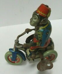Vintage Tin Wind Up Monkey On Tricycle Scooter Made In Us Zone Germany 1940s