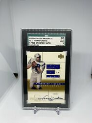 Johnny Unitas Auto Jersey Card Ud Pros And Prospects 2001 Sgc 9 33/50