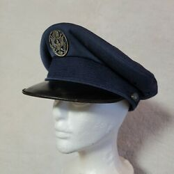 Vtg Air Force Aaf Officers Crusher Cap Hat Wool Usa Military 6 7/8 Flight Ace