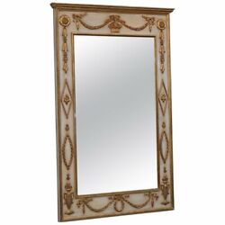 Large Painted And Gilded Carved Wood French Louis Xv Style Wall Mirror