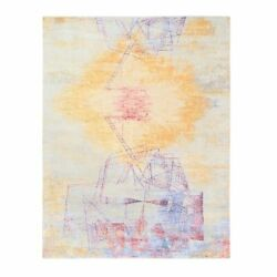 8and039x10and0392 Geometric Abstract Design Yellow Wool And Silk Hand Knotted Rug G62412