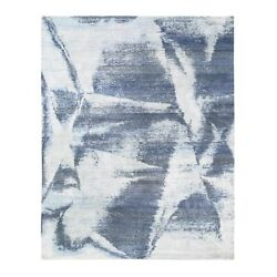 7and03910x10and039 Hand Knotted Black With A Mix Of Blue Modern Wool And Silk Rug G62411