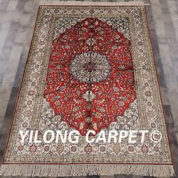 Yilong 4'x6' Handknotted Silk Red Carpet Floral Home Decor Oriental Rug 876b