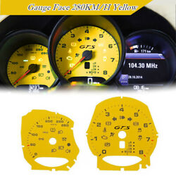 Yellow Turbo Gauge Face For Porsche 981 982 718 Boxster Cayman Macan 280km/h 12-