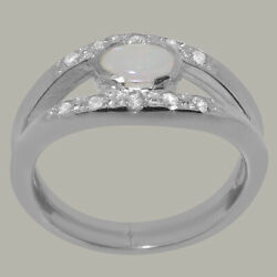 14ct White Gold Natural Opal Diamond Womens Band Ring - Sizes J To Z