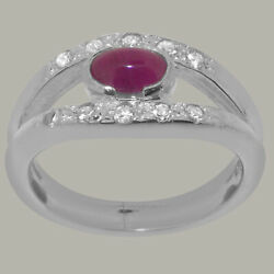 14ct White Gold Natural Ruby Diamond Womens Band Ring - Sizes J To Z