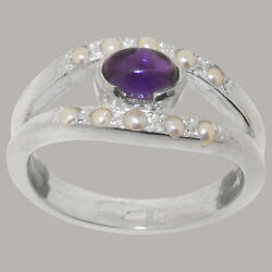 14ct White Gold Natural Amethyst Full Pearl Womens Band Ring - Sizes J To Z
