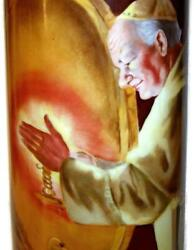 Guerin Limoges Hp 15 Tankard Monk Holding Candle By Wine Barrels Signed Aldrich