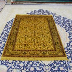 Yilong 4'x6' Gold Handmade Carpet All Over Antique Hand Knotted Silk Rug 072b