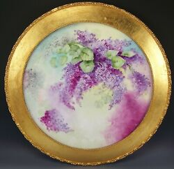 Limoges France Hand Painted Lilacs 22.75 Framed Large Charger Plaque