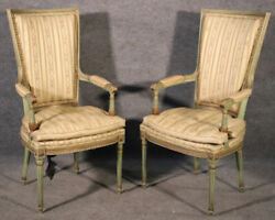 Tall Back French Louis Xvi Green And Gold Paint Decorated Armchairs Fautueils