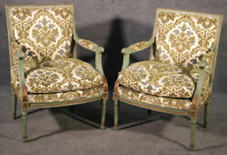 Pair Of Class Square Back Paint Decorated Louis Xvi Bergere Chairs, Circa 1950