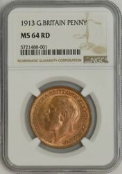 1913 Great Britain Penny Ms64rd Ngc 943553-29
