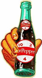 Hand Hold Dr Pepper 10 2 4 Bottle 48 Heavy Duty Usa Made Metal Advertising Sign