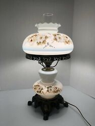 Vintage Ef And Ef Industries 1971 Hurricane Lamp White And Blue With Flowers 20