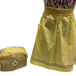 Vintage Handmade Cross Stitch Yellow Gingham Apron And Matching Toaster Dust Cover