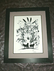 Superb Black And White Ink Lithograph By Canadian Native Artist, Signed And Numbered