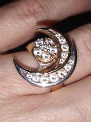 N. Teufel Double Crescent Moon Diamond Spinning Motion Ring 14k Gold