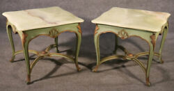 Pair Large Paint Decorated Alabaster Top French Louis Xv End Side Tables, C1950