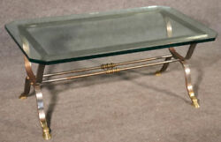 Maison Jansen Louis Xv Style Steel And Brass Coffee Table, C1950
