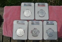 2013, Ngc, America The Beautiful 5 Oz Set, Sp70, Early/first Releases