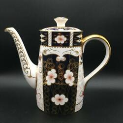 """Royal Crown Derby Traditional Imari 2451 Coffee Pot 5c Oval Finial 7.75"""" Ch6094"""