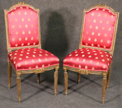 Pair Antique French Louis Xvi Painted And Gilded Side Chairs Circa 1900