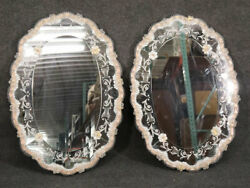 Rare Pair Italian Murano Venetian Etched Glass Floral Wall Mirrors