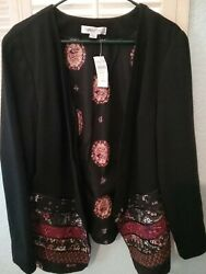 New Nwt Coldwater Creek Women L Novelty Ribbon Ponte Jacket Open Front Msrp 99.